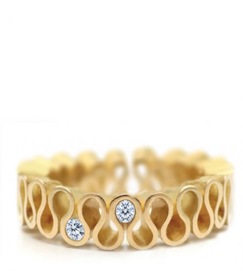 18ct yellow gold eternity ring with two diamonds